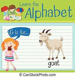 litera g, flashcard, goat