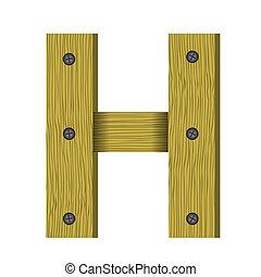 litera h, drewno