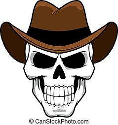 litera, kapelusz, odczuwany, brązowy, kowboj, czaszka