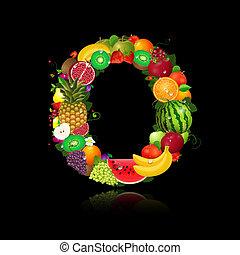 litera, o, owoc, soczysty, kształt