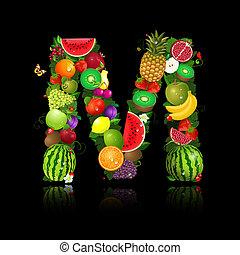 litera, owoc, m, soczysty, kształt