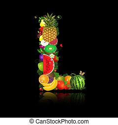 litera, owoc, soczysty, kształt, l