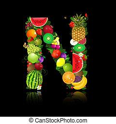 litera, owoc, soczysty, kształt, n