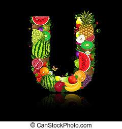 litera, owoc, u, soczysty, kształt