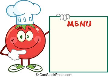 litera, pomidor, uśmiechanie się, mistrz kucharski