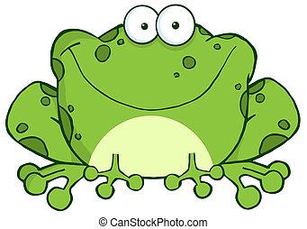 litera, rysunek, żaba, szczęśliwy