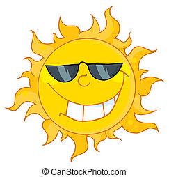 litera, rysunek, słońce, maskotka