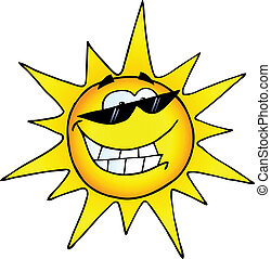 litera, rysunek, uśmiechnięte słońce