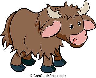 litera, rysunek, yak, zwierzę