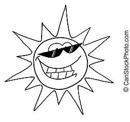 litera, słońce, chłodny, szkic