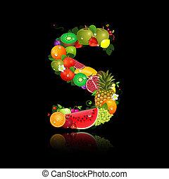 litera s, owoc, soczysty, kształt