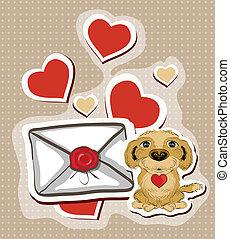 litera, zabawny, miłość, pies, ilustracja