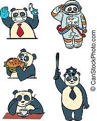 litery, doktor, taikonaut, litera, komplet, zwierzę, panda, policja, zbiór, biznesmen, sprytny, różny