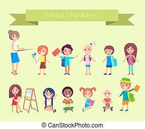 litery, szkoła, wektor, uczniowie, zbiór