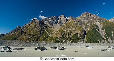 lodowiec, panorama, jezioro