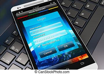 login, smartphone, ekran