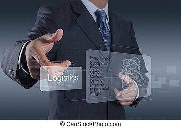 logisty, diagram, pojęcie, widać, biznesmen