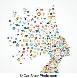 logisty, głowa, kobieta, ikony, app, bryzg