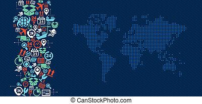 logisty, mapa, illustration., ikony, okrętowy, bryzg, świat