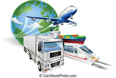 logisty, pojęcie, globalny, pociąg, wózek, samolot, statek