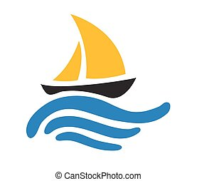 logo, łódka, wektor, woda, nawigacja