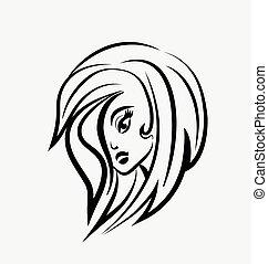 logo, ładny, kobieta