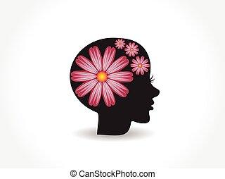 logo, ładny, kwiat, twarz, kobieta, różowy
