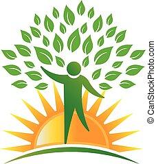 logo, światło słoneczne, drzewo, ludzie