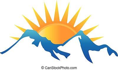 logo, światło słoneczne, góry