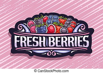 logo, świeży, jagody, wektor
