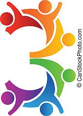 logo, 3, teamwork, liczba