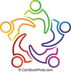 logo, 5, linearny, spotkanie, teamwork