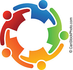 logo, 5, obejmować, teamwork