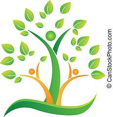 logo, abstrakcyjny, drzewo, ludzie