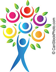 logo, abstrakcyjny, drzewo
