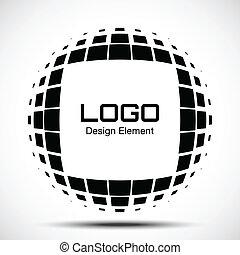 logo, abstrakcyjny, halftone, zaprojektujcie element