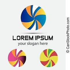 logo, abstrakcyjny, piłka, ikona