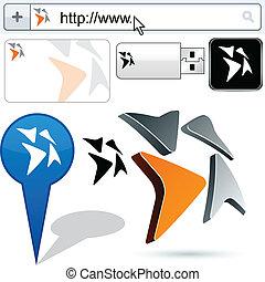 logo, abstrakcyjny, strzały, handlowy, design.