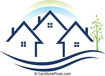 logo, apartamenty, domy drzewa
