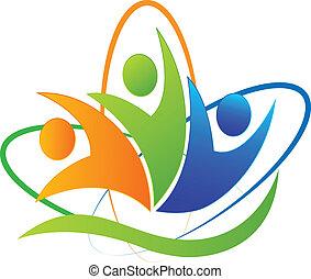 logo, app, szczęśliwy, powodzenie, ludzie
