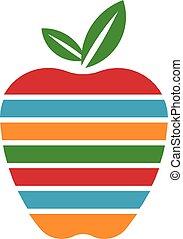 logo, barwny, jabłko, pasy