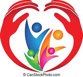 logo, bezpieczny, rodzina, siła robocza