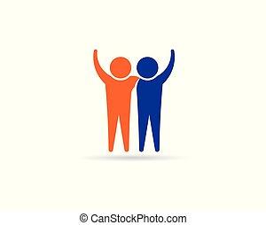 logo, connection., przyjaciele, ludzie, projektować, wzmacniacz, szczęśliwy, business.