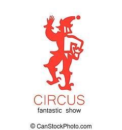 logo, cyrk, retro, pokaz