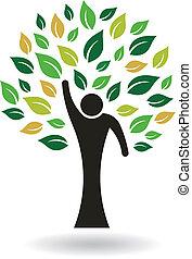 logo, cześć, drzewo, ludzie, 5