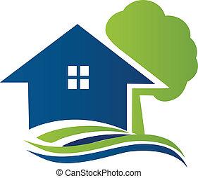 logo, dom, drzewo, fale