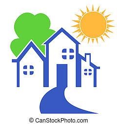 logo, dom, drzewo, słońce