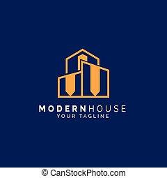 logo, dom, nowoczesny