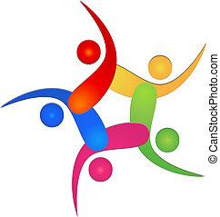 logo, drużyna, 5, swooshes