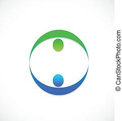 logo, drużyna, ludzie handlowe, wzmacniacz